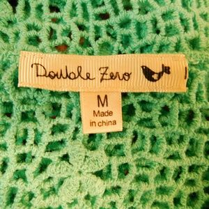Double Zero Tops - Double Zero Womens Medium Top Green Floral Crochet